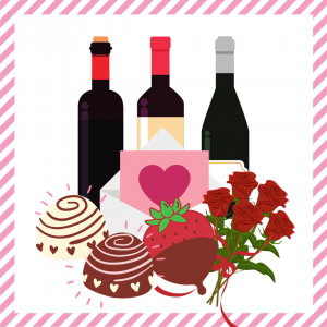 Package 10 – Cupid-gram with strawberries or truffles, half dozen red roses, and a bottle of wine