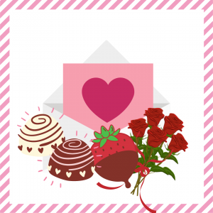 Package 5 – Cupid-gram with strawberries or truffles and half dozen red roses