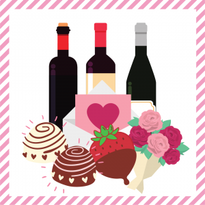 Package 9 – Cupid-gram with strawberries or truffles, half dozen assorted roses, and a bottle of wine