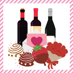 Package 11 – Cupid-gram with strawberries, truffles, a dozen red roses, and a bottle of wine