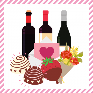 Package 8 – Cupid-gram with strawberries or truffles, a mixed bouquet and a bottle of wine and flowers